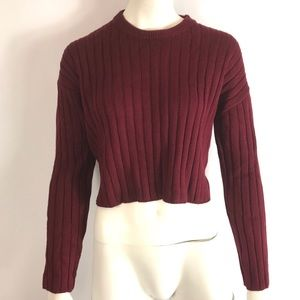 Forever 21 Cropped Sweater Maroon sz Small